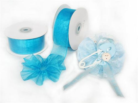"Turquoise 1-1/2"" Sheer Organza Capia Pull Bow Ribbon 25Yards"