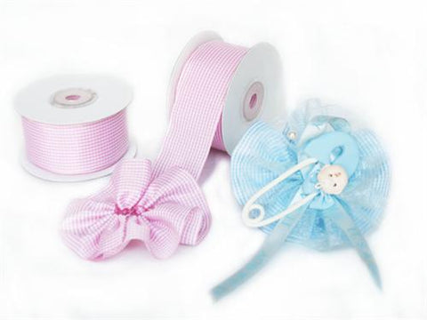 "Pink Gingham 1-1/2"" Capia Pull Bow Ribbon 10Yards"