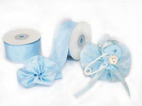 "Patel Blue Gingham 1-1/2"" Capia Pull Bow Ribbon 10Yards"