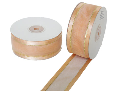 "1-1/2"" Satin Edge Organza Ribbon Peach with Gold Lines 25 Yards"
