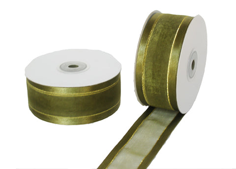 "1-1/2"" Satin Edge Organza Ribbon Moss with Gold Lines 25 Yards"