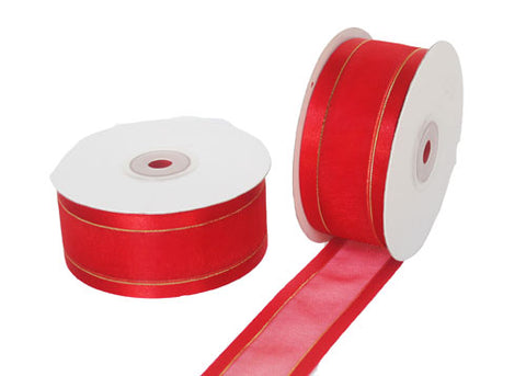 "1-1/2"" Satin Edge Organza Ribbon Red with Gold Lines 25 Yards"