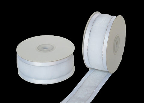 "1-1/2"" Satin Edge Organza Ribbon White with Silver Lines 25 Yards"