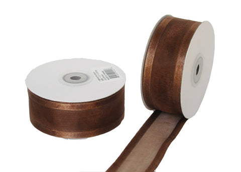 "1-1/2"" Satin Edge Organza Ribbon Brown 25 Yards"