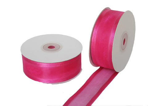 "1-1/2"" Satin Edge Organza Ribbon Fuchsia 25 Yards"