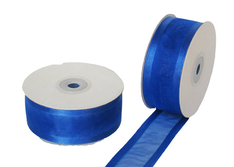 "1-1/2"" Satin Edge Organza Ribbon Royal Blue 25 Yards"
