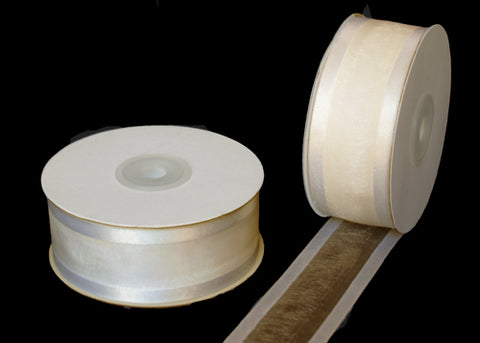 "1-1/2"" Satin Edge Organza Ribbon Ivory 25 Yards"