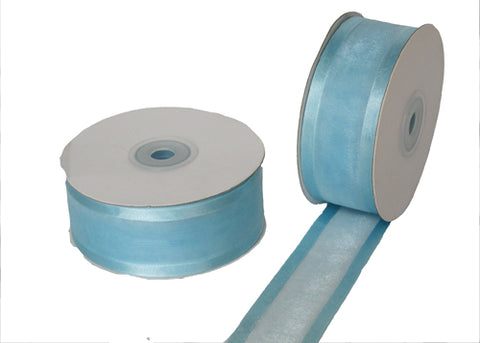 "1-1/2"" Satin Edge Organza Ribbon Baby Blue 25 Yards"