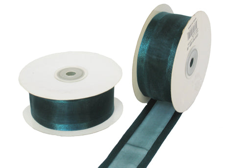 "1-1/2"" Satin Edge Organza Ribbon Hunter Green 25 Yards"