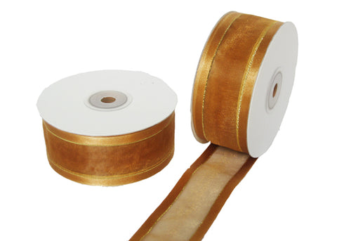 "1-1/2"" Satin Edge Organza Ribbon Gold with Gold Lines 25 Yards"