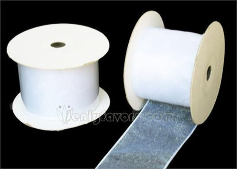 "2-1/2"" Organza Wired Ribbon White 10 Yards"