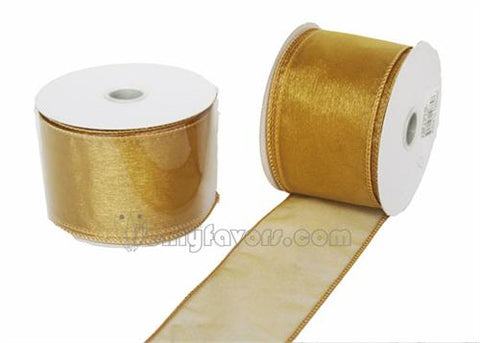 "2-1/2"" Organza Wired Ribbon Gold 10 Yards"