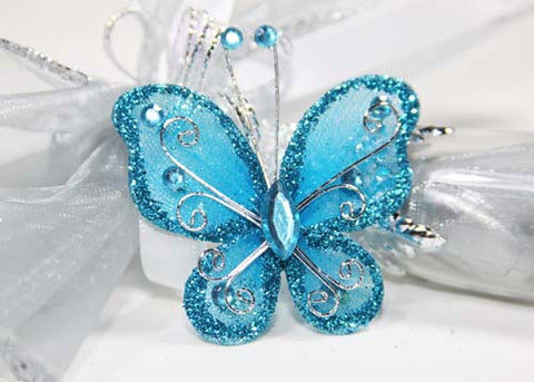 Rhinestone Organza Decorative Butterflies Turquoise (50 Pieces)