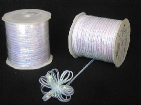 Iridescent White 4MM Pull Bow Ribbon 100 Yard
