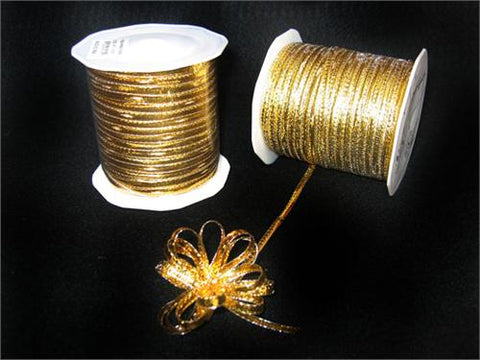 Gold 4MM Pull Bow Ribbon 100 Yard