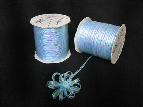 Iridescent Light Blue 4MM Pull Bow Ribbon 100 Yard
