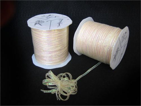 Irridescent Ivory 4MM Pull Bow Ribbon 100 Yard