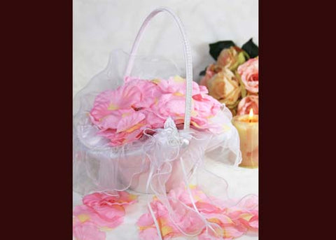 "10"" X 8"" Oval Venetian Flower Girl Basket with Organza Edge White"