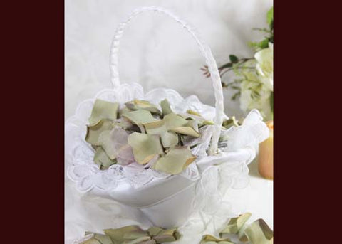 "10"" X 8"" Oval Venetian Flower Girl Basket with Pearls Trim White"