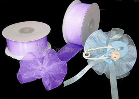 "Lavender 1-1/2"" Sheer Organza Capia Pull Bow Ribbon 25Yards"