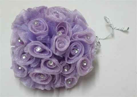 Lavender Organza Ribbon Rose with Rhinestone (108 Flowers)