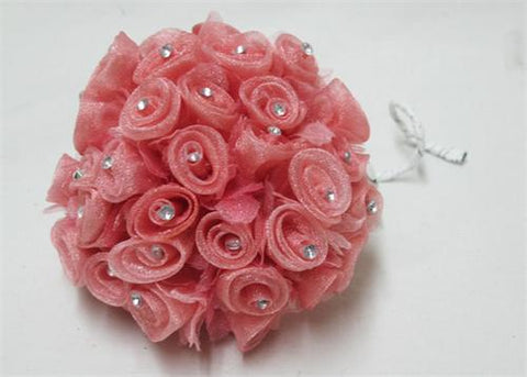 Mauve Organza Ribbon Rose with Rhinestone (108 Flowers)