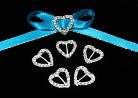 "7/8"" Heart Shape Rhinestone Ribbon Buckles (12 Pieces)"