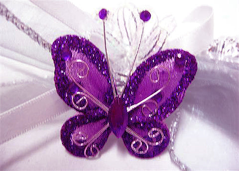 Rhinestone Organza Decorative Butterflies Purple (50 Pieces)