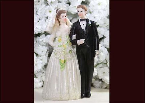 6 Poly Resin Wedding Cake Topper Couple (12 Pieces)