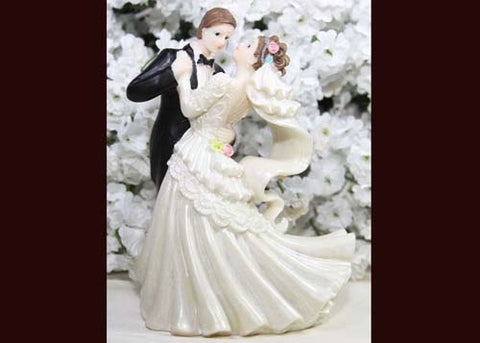 6 Dancing Poly Resin Wedding Cake Topper Couple (12 Pieces)