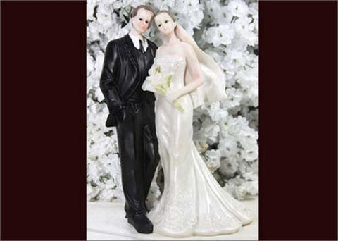 8 Bouquet Poly Resin Wedding Cake Topper Couple (1 Piece)