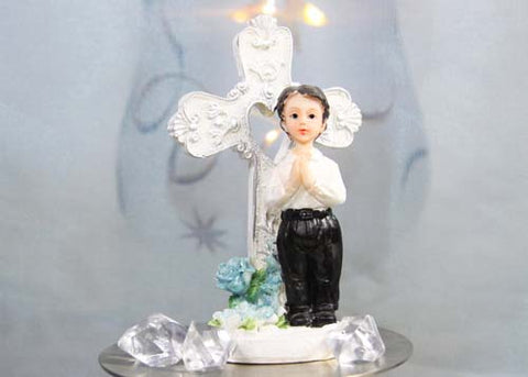 Poly Resin Communion Figurine Boy With Cross (12 pieces)