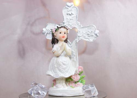 Poly Resin Communion Figurine Girl With Cross (12 Pieces)
