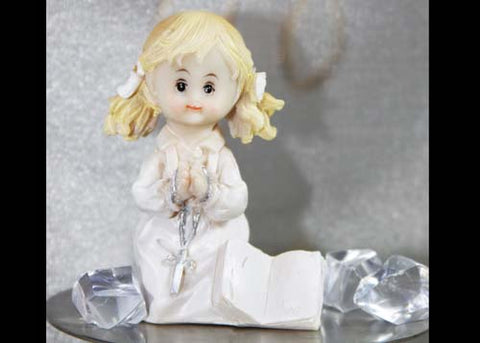 Poly Resin Communion Figure Praying Girl With Rosary(12Pieces)
