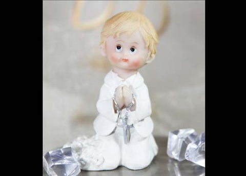 Poly Resin Communion Figure Praying Boy With Rosary (12 pieces)