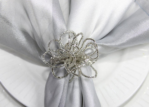 Bow Napkin Ring Silver (12 Pieces)
