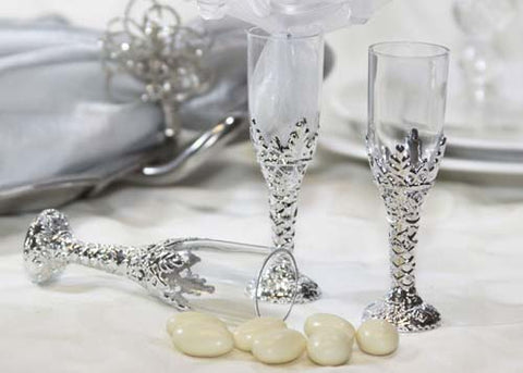 Plastic Champagne Cup Silver (12 Pieces)