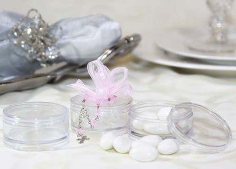 2'' Round Clear Plastic Favor Box with Lid - 12 Pieces