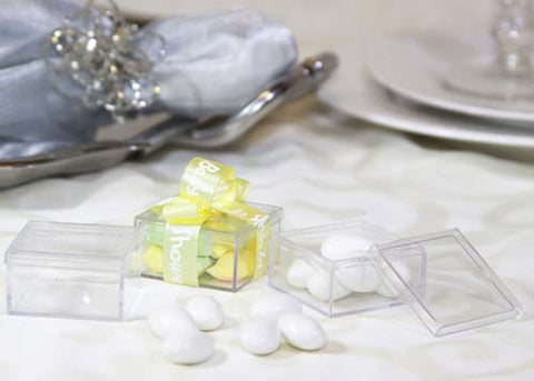 Clear Square Plastic Favor Box (12 Pieces)