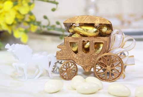 Plastic Carriage Favor with Horse- Gold (12 Pieces)