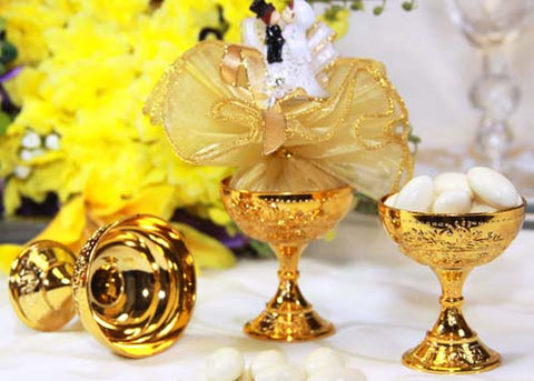 Plastic Chalice Cup- Gold (12 Pieces)