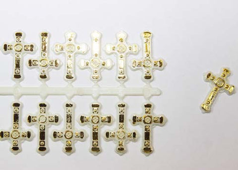 Plastic Charm Gold Crosses (144 Pieces)