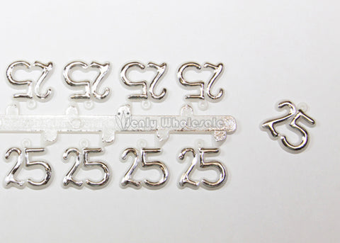 Miniature number 25 silver (144 pieces)