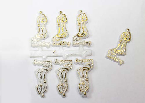 Plastic Wedding Couple Figure Gold (144 Pieces)