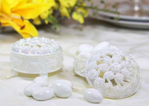 2.5 Plastic Trinket Box Iridescent White (12 Pieces)