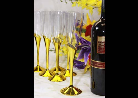 Plastic Champagne Flute With Gold Vase (12 Pieces)