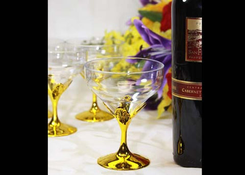 Plastic Goblets With Gold Vase (12 Pieces)