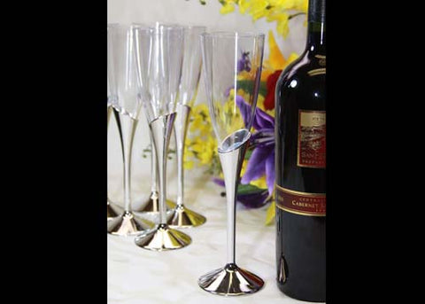 Plastic Champagne Flute With Silver Vase (12 Pieces)