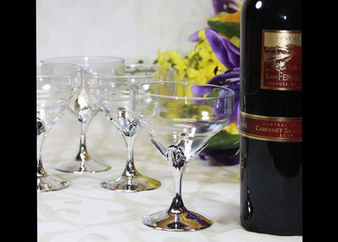 Plastic Goblets With Silver Vase (12 Pieces)