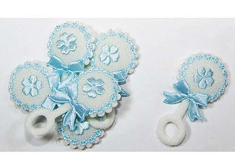 Baby Shower Decoration Cotton Baby Rattle Blue (12 pieces)